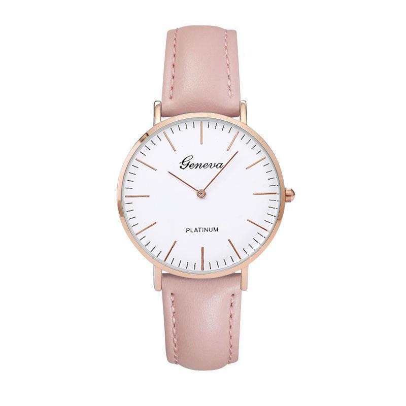 Женские часы золотой розовый ремень GENEVA кожаный
