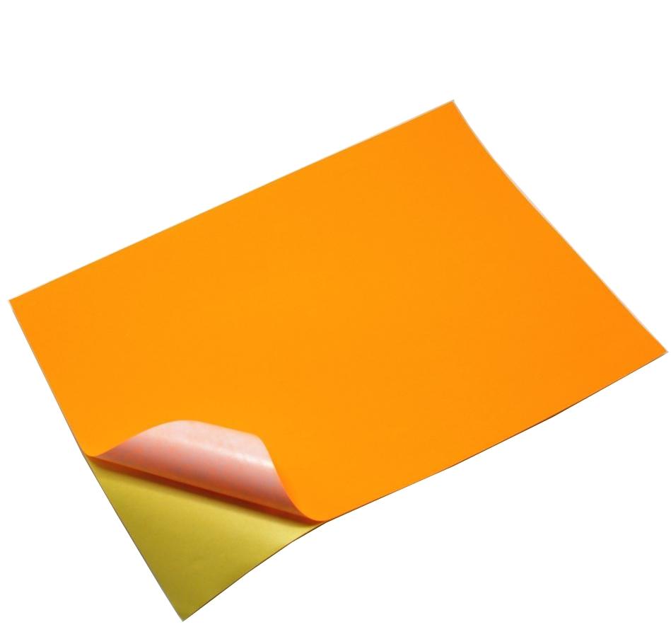 Papier matný samolepiaci A4 oranžový. - 10AK.