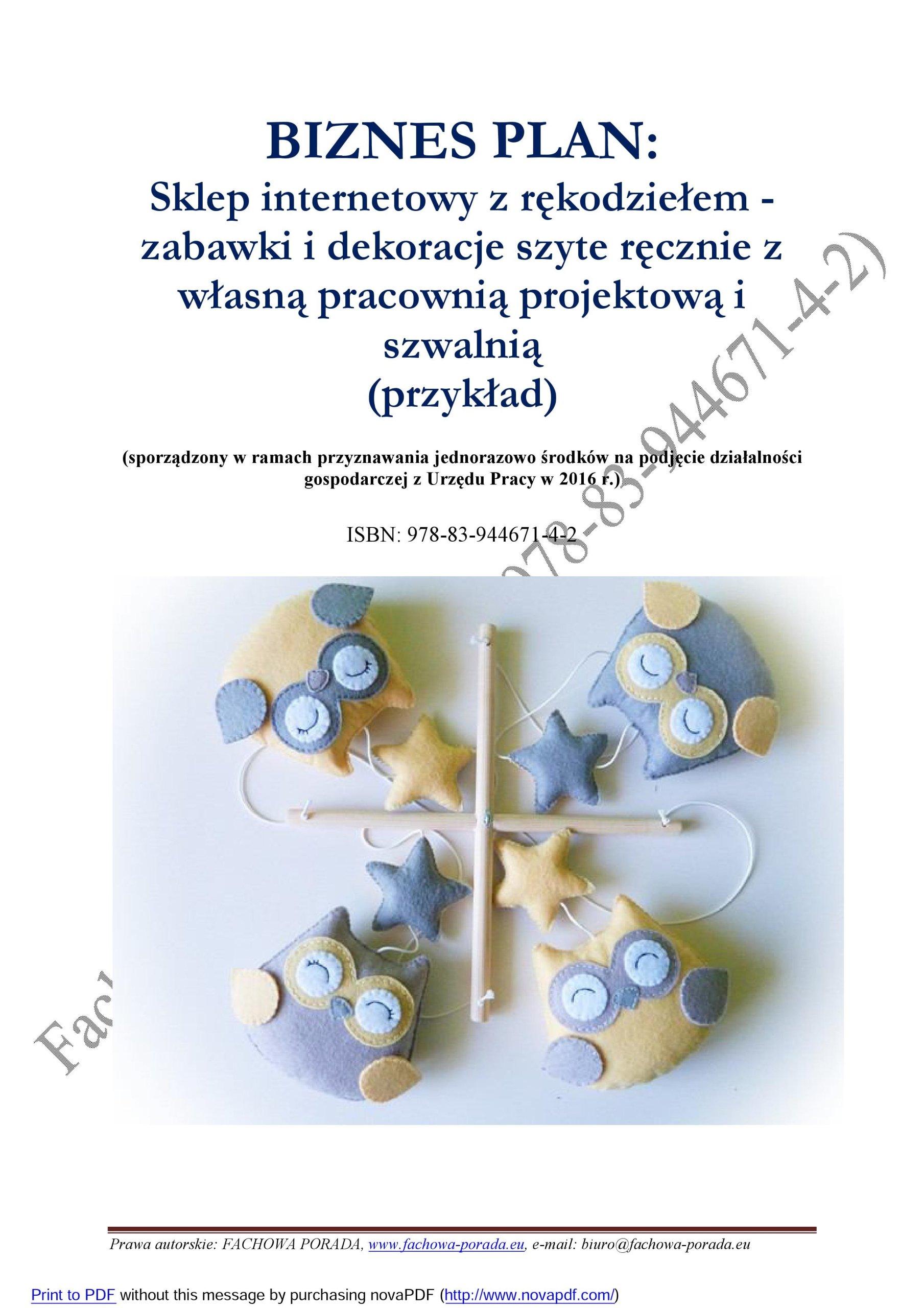 dd1a330b285eff BIZNESPLAN rękodzieło (e-sklep z zabawkami) 6876997728 - Allegro.pl