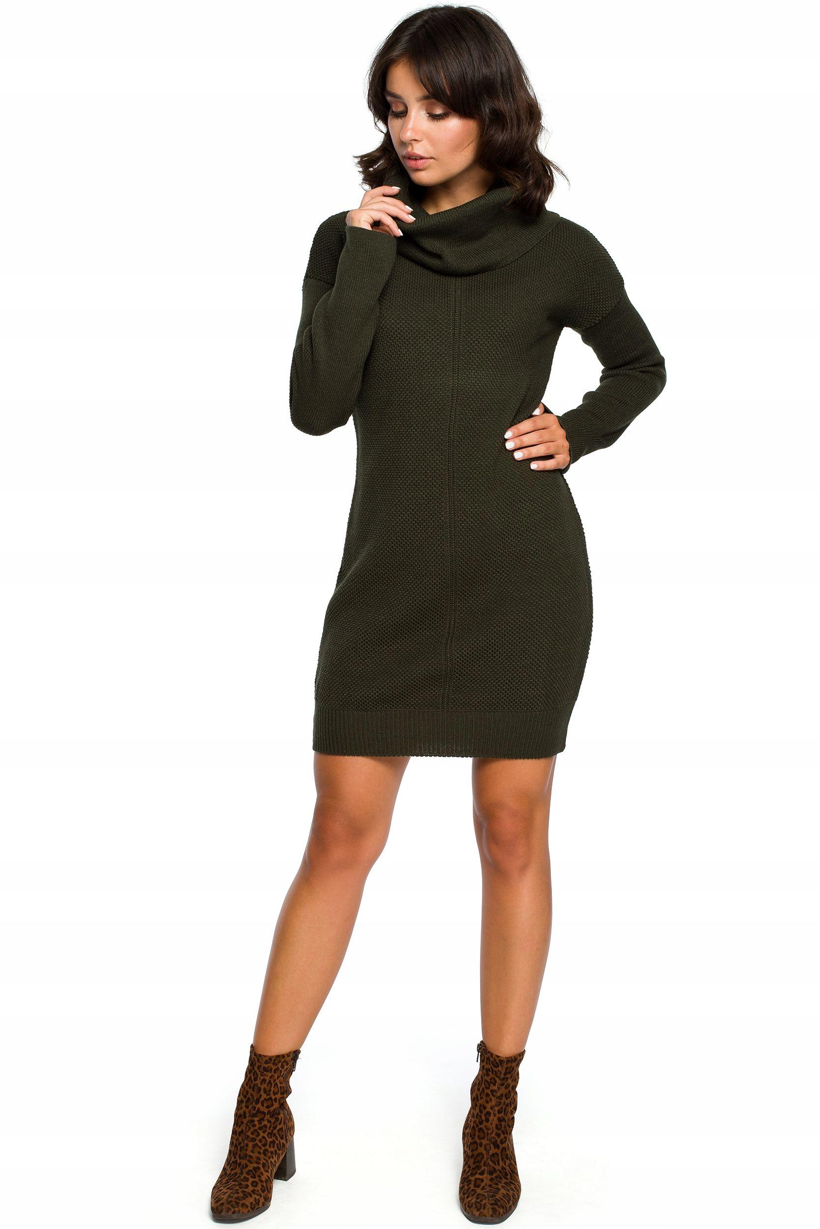BK010 Swetrowa mini sukienka z golfem - khaki Uni