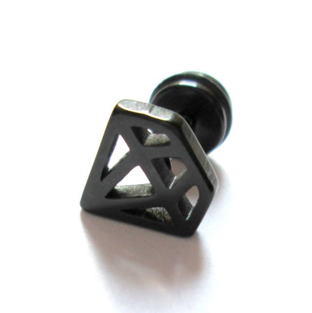 Item Earrings fake plug mens womens BLACK DIAMOND 10 mm