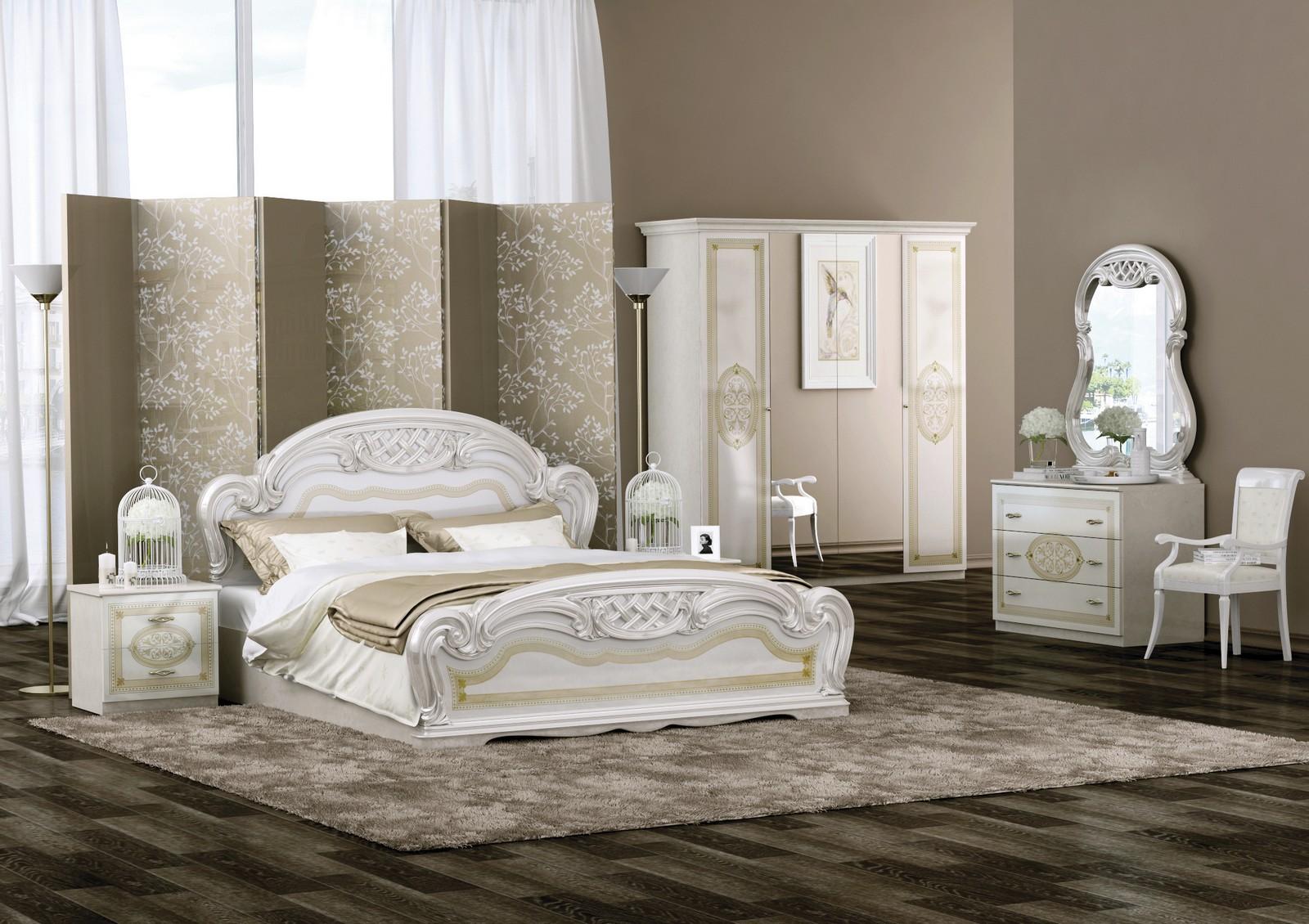 Спальня ЛАРА БЕЖЕВЫЙ СО ШКАФОМ 4Д кровать 160х200