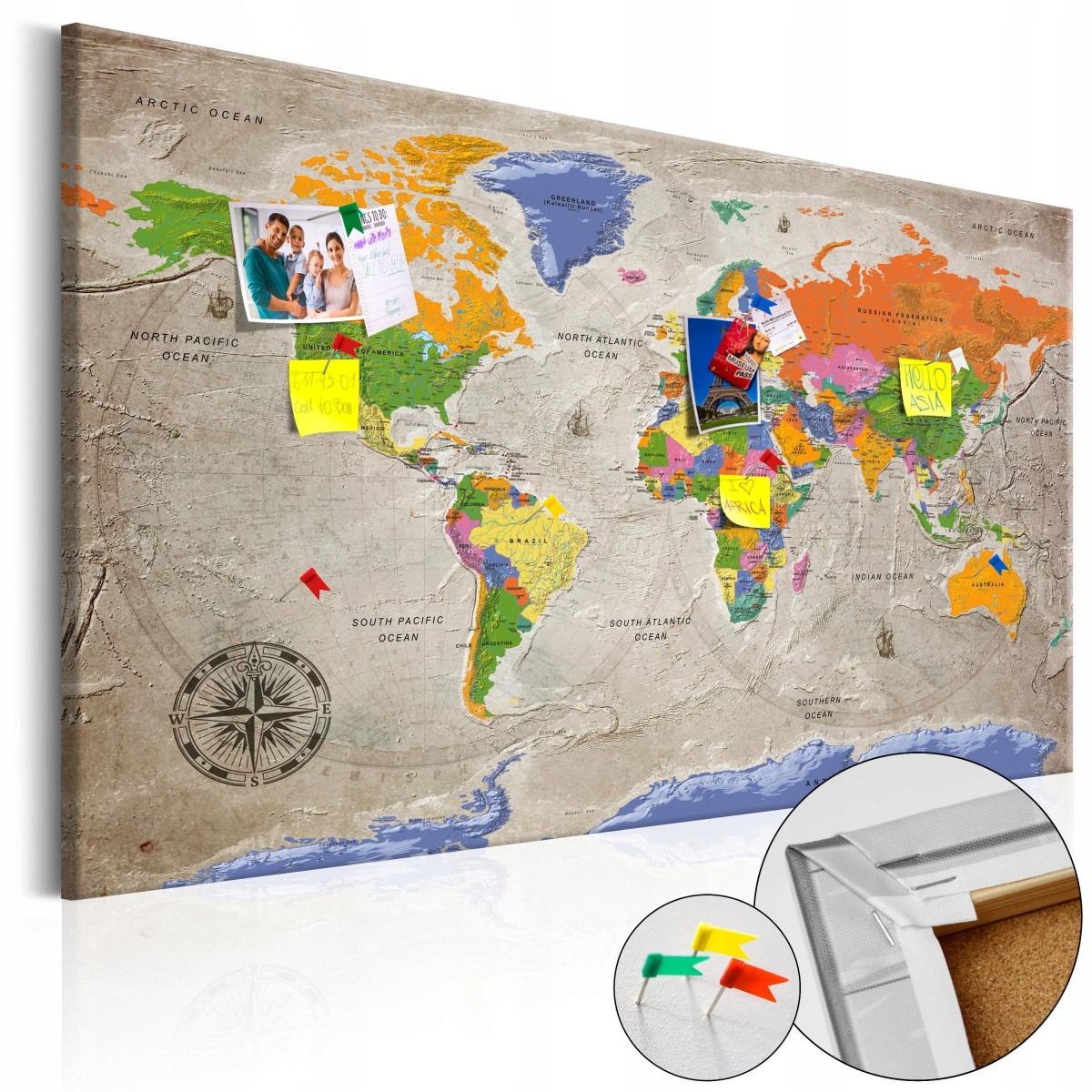 Dekoratívna nástenka mapa sveta 120 x 80 v retro štýle