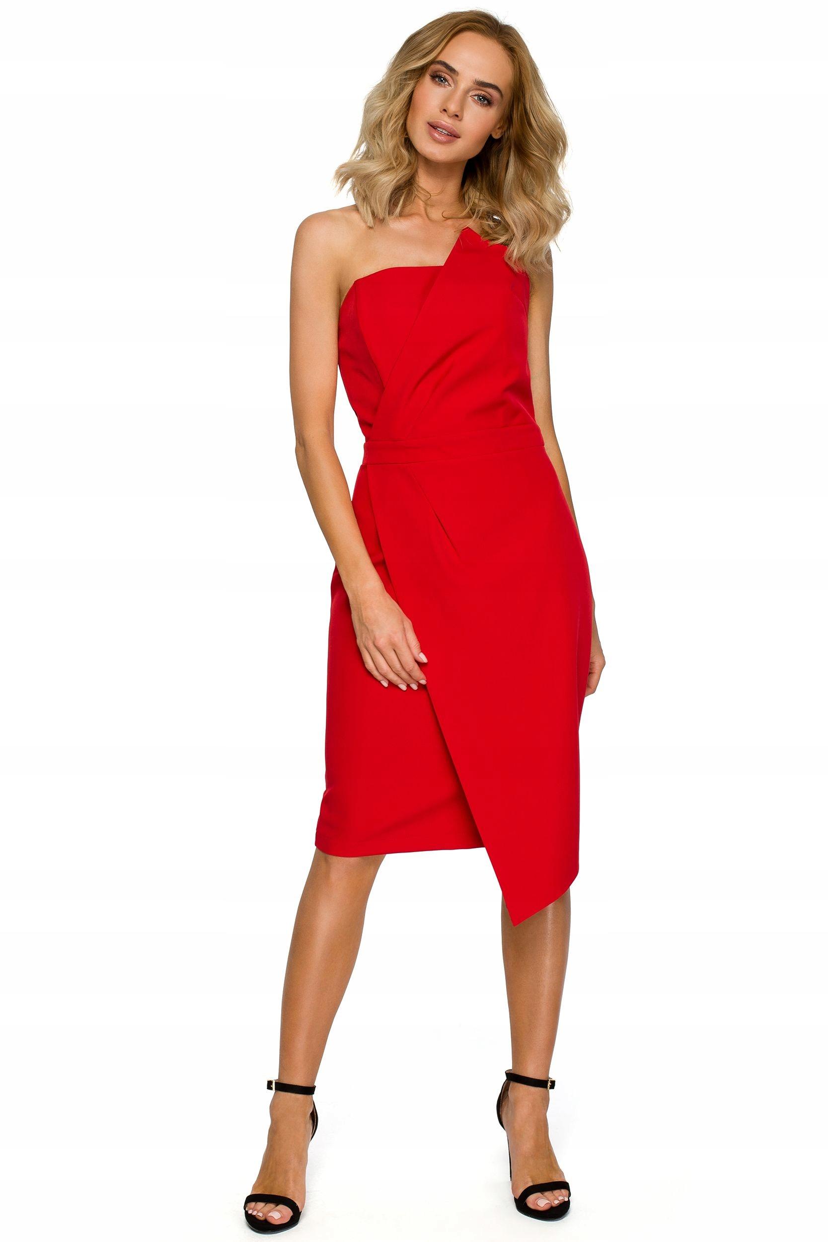 M409 Sukienka gorsetowa - czerwona 36 | S