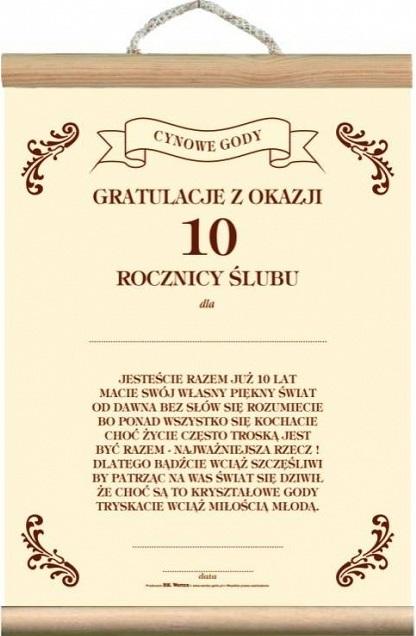 Dyplom Karta życzenia 10 Rocznica ślubu Jubileusz