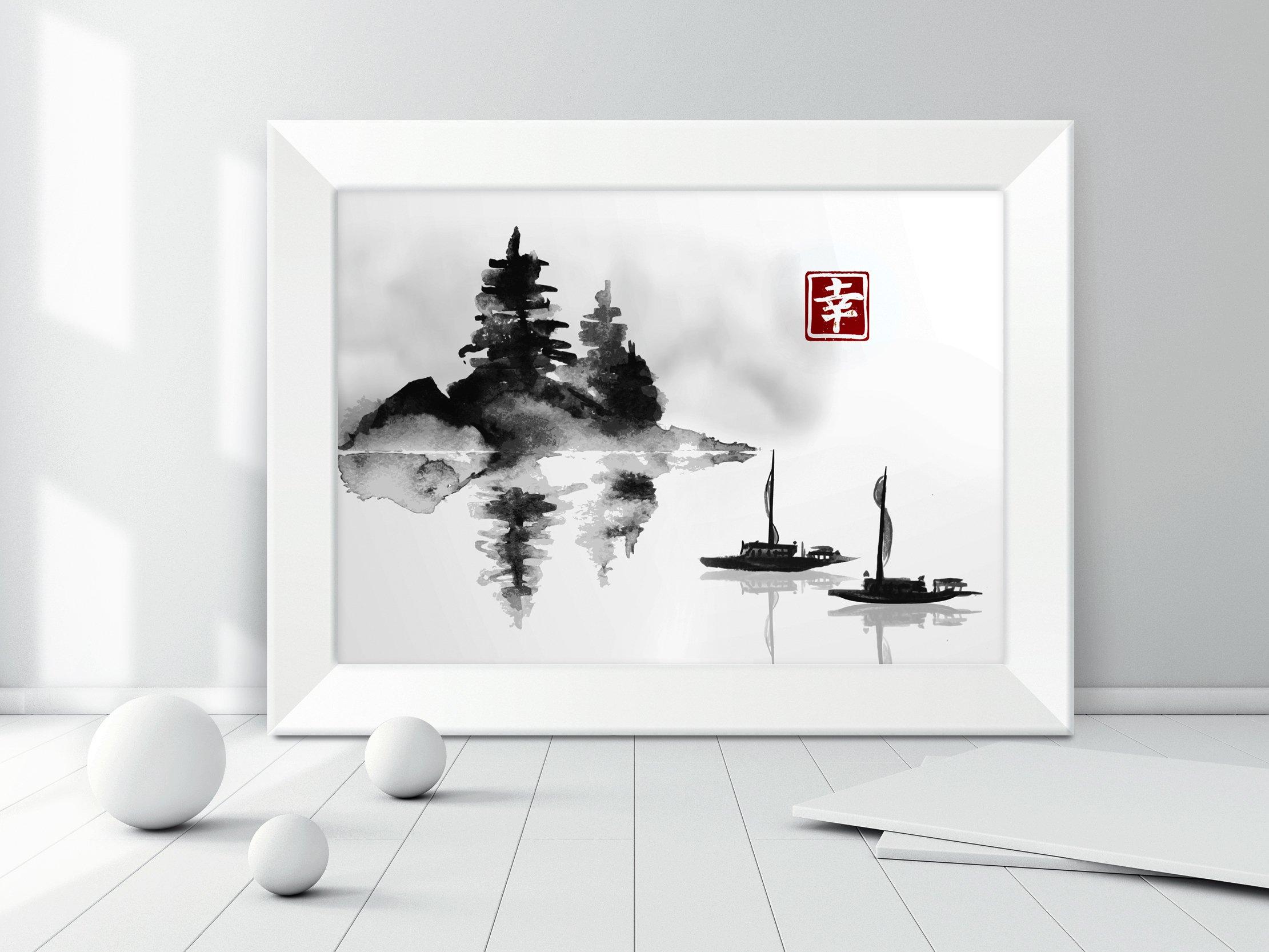 Obraz obrazek w ramce na ścianę GRAFIKA JAPOŃSKA Sposób wykonania druk cyfrowy