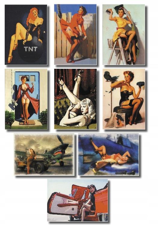 Nastavte pin Up Girl Pohľadnice 9 ks. Nowe b / o