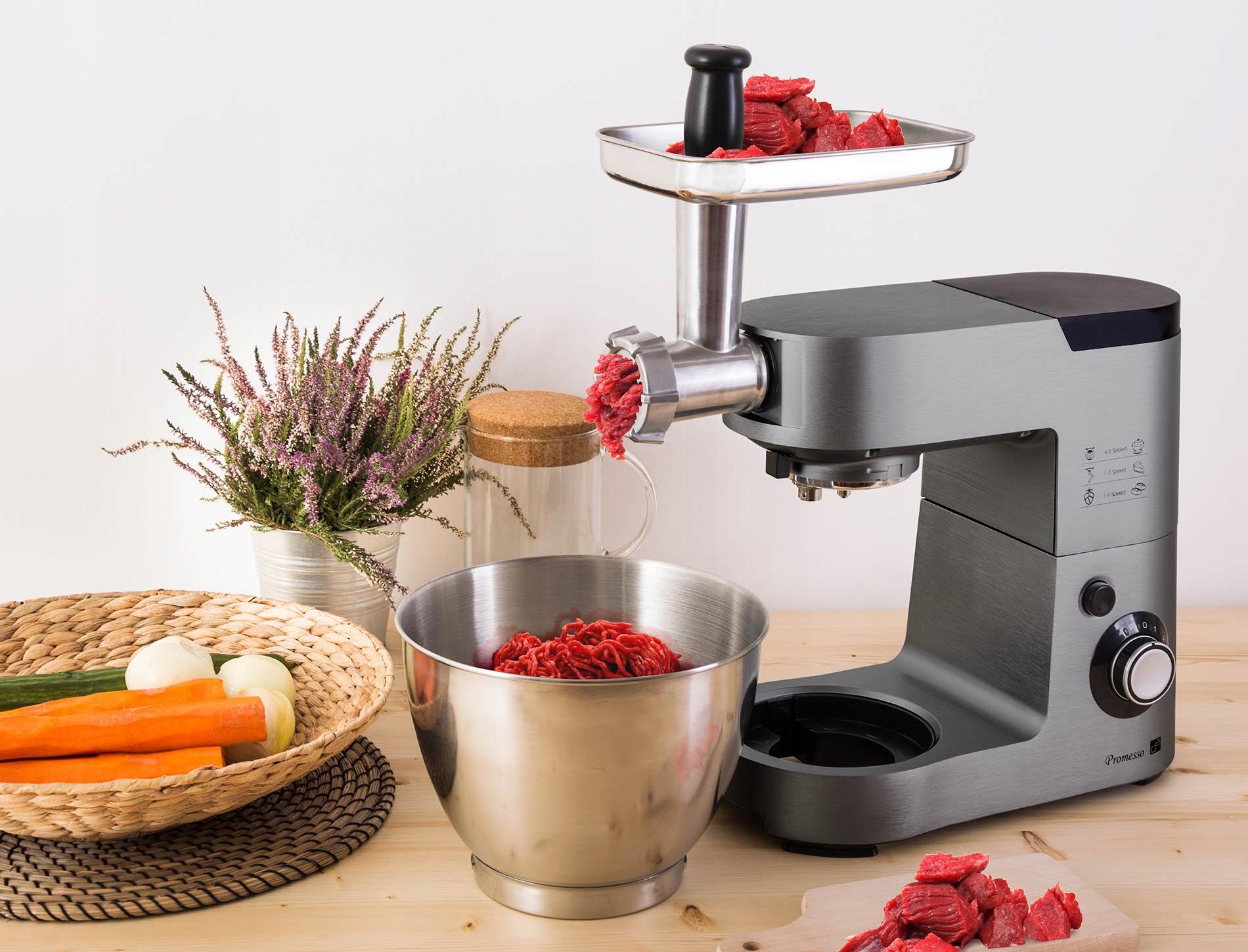 Планетарный кухонный комбайн многофункциональный миксер Доминантный цвет серебристый / серый