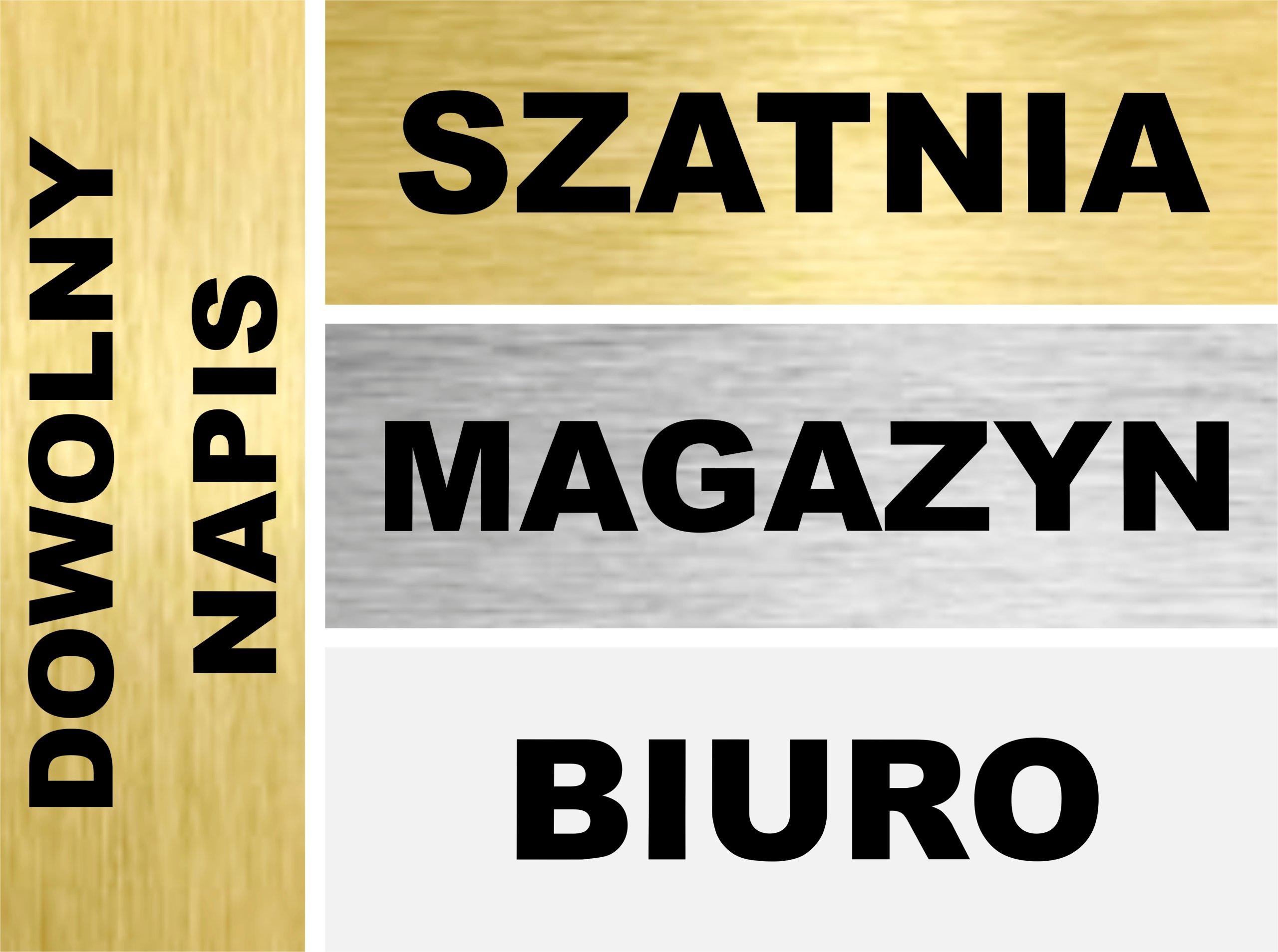 TABLICZKA blaszka znak DOWOLNY NAPIS 20x7 cm