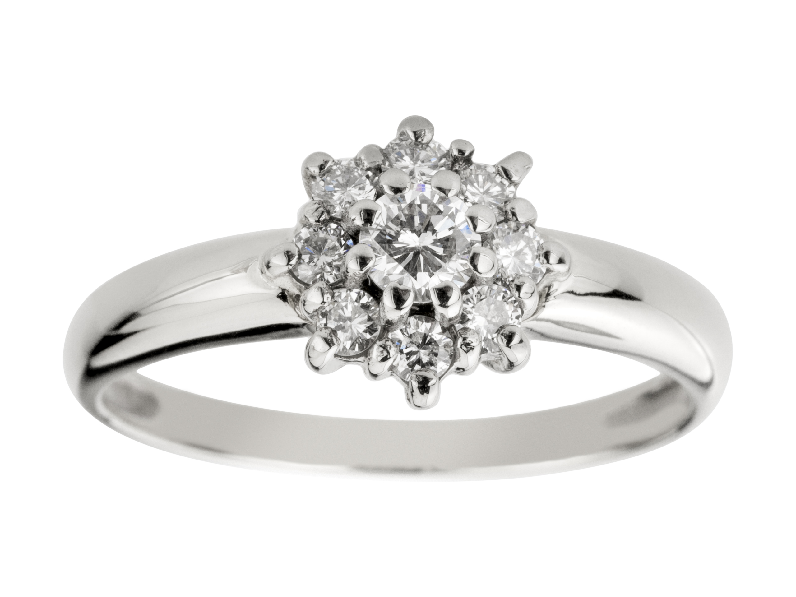 WHITE GOLD RING s 9 DIAMANTY, 0.37 ct