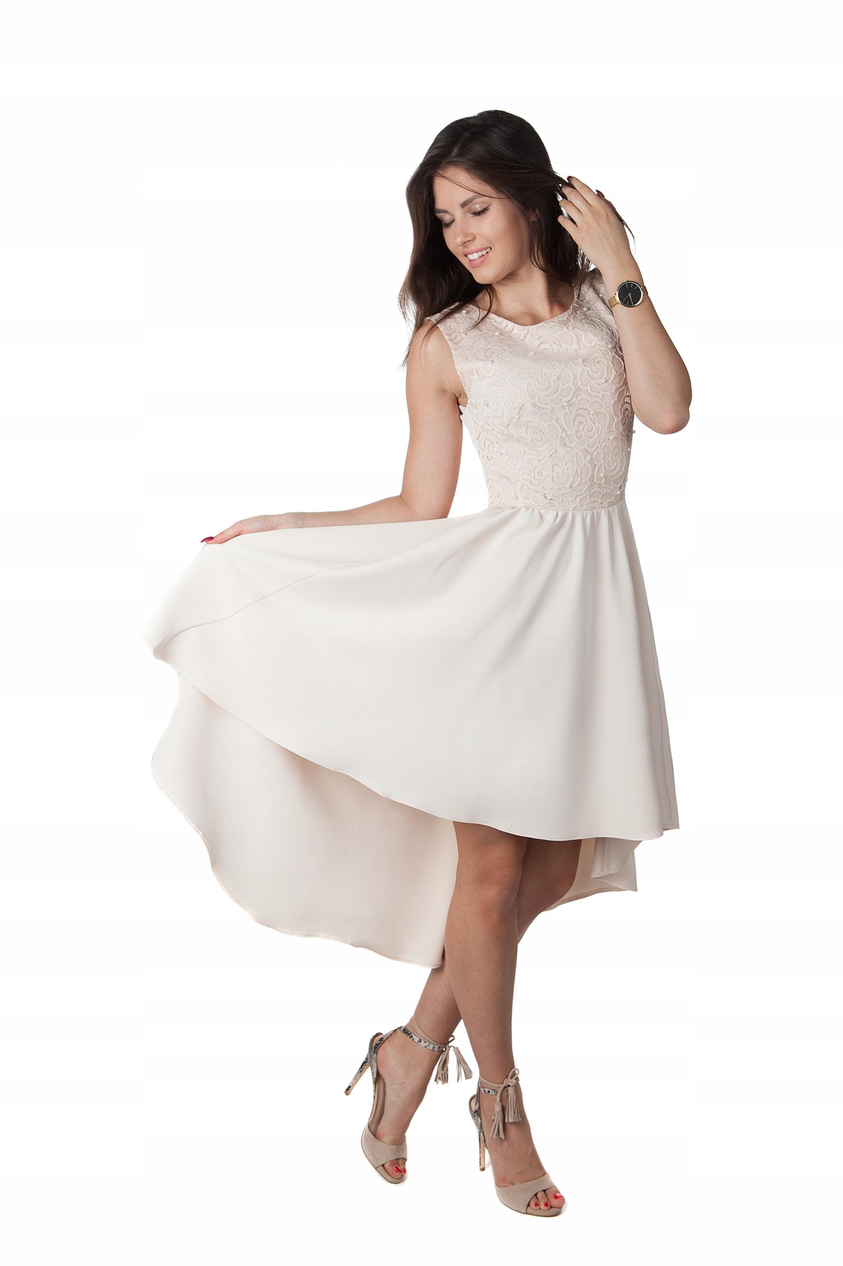 fa3c2cd0e4 Asymetryczna Sukienka Koronka Perełki Wesele R 42 7516559992 - Allegro.pl