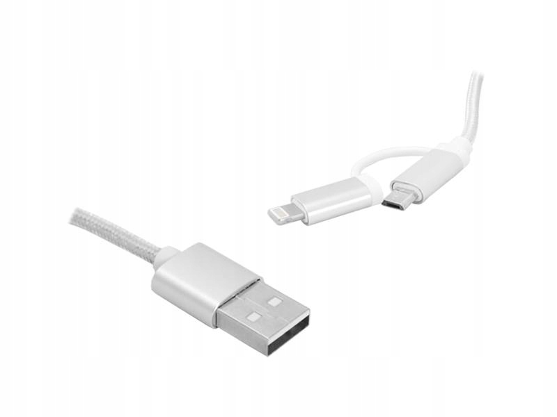 Kabel 2W1 Usb - Microusb / Iphone, 1M, Srebrny