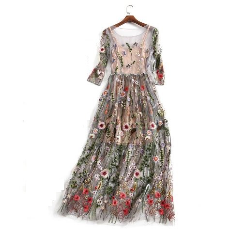 Sukienka boho półprzezroczysta haftowane kwiaty XL