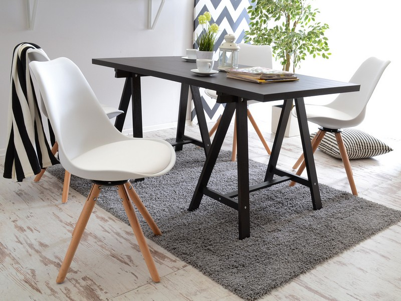 Obrotowe krzeslo tapicerowane LUIS ROT biale Mebel Partner.pl