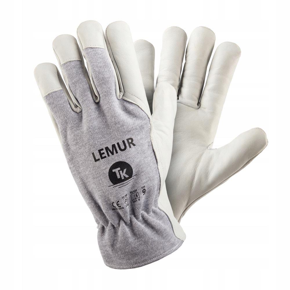 Rękawice skórzane kozia skóra monterskie LEMUR r.9