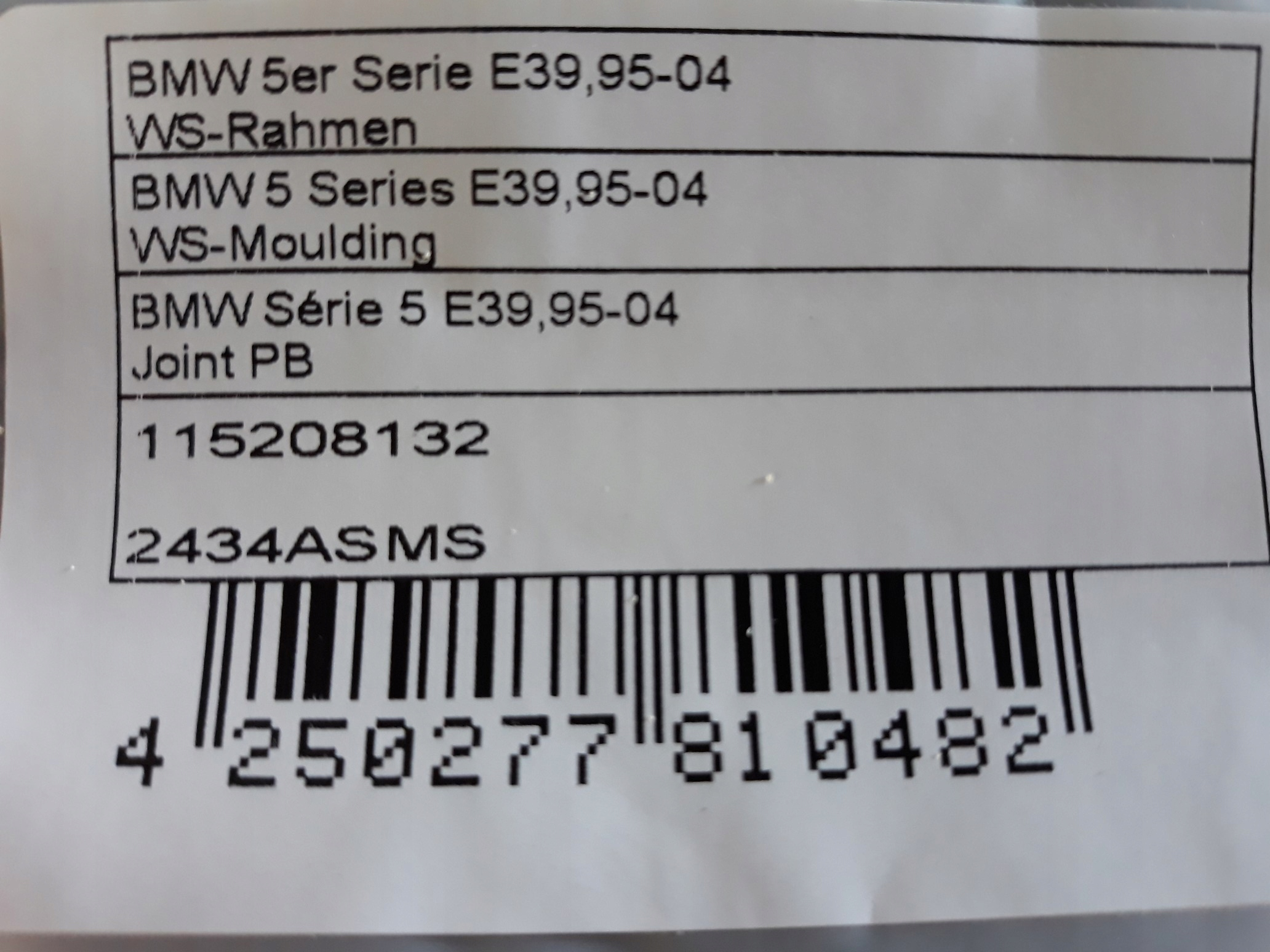 [УПЛОТНИТЕЛЬ СТЕКЛА CZOLOWEJ BMW 5 E39 из Польши]изображение 4