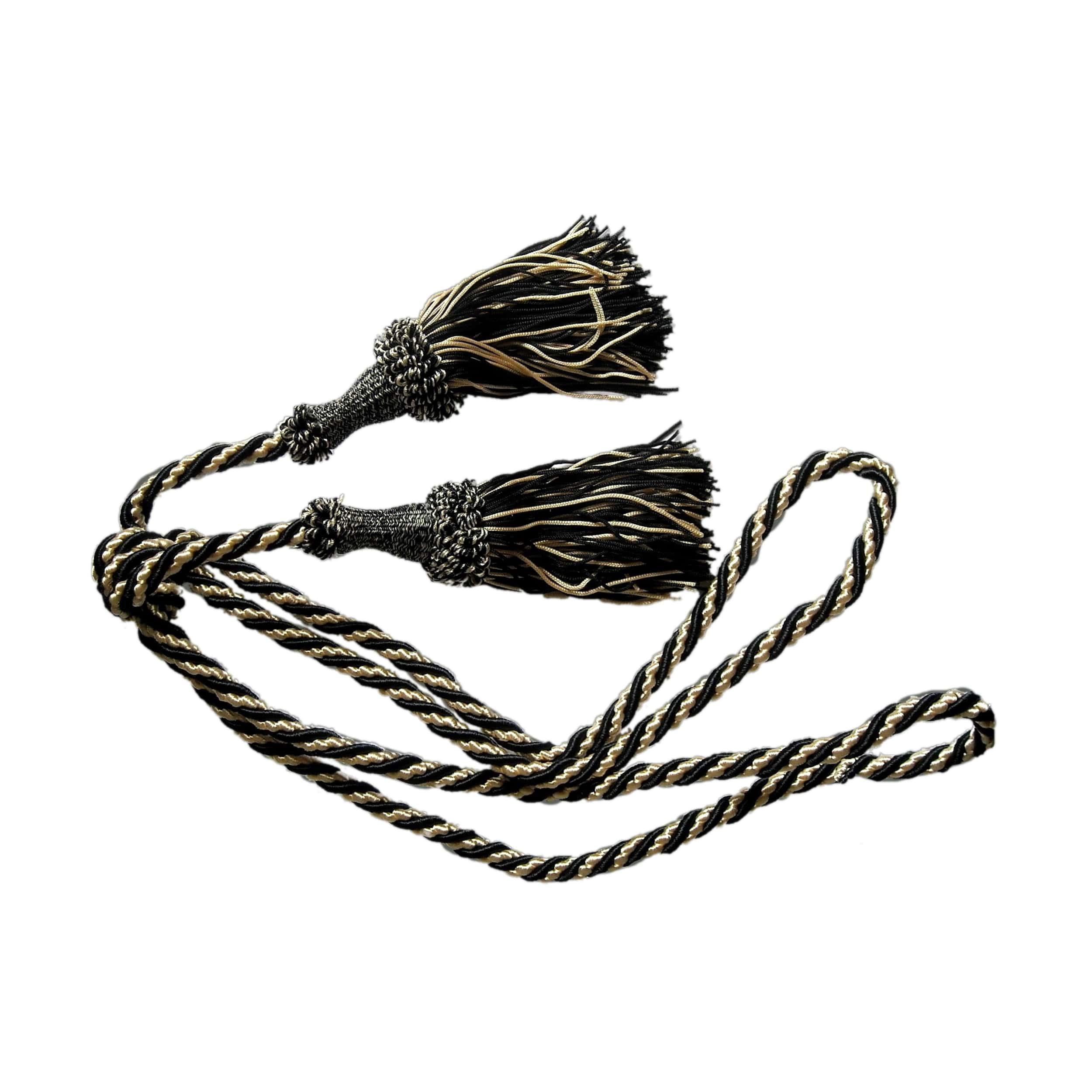 Upięcie do zasłon, chwost ze sznurem czarno-beżowy