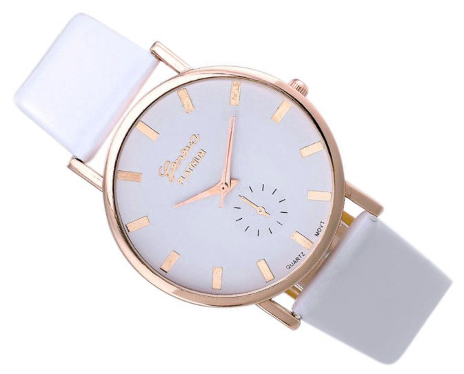 Item Watch women gold Geneva leather band white