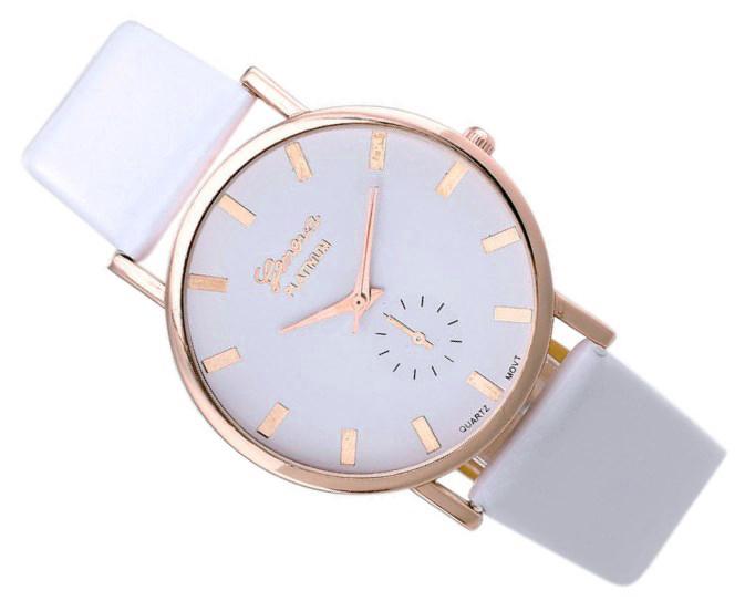 Zegarek damski złoty Geneva skórzany pasek biały