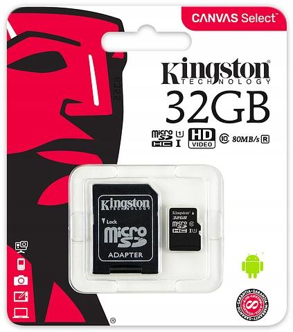 Kingston KARTA PAMIĘCI 32GB MICRO SD C10 i ADAPTER