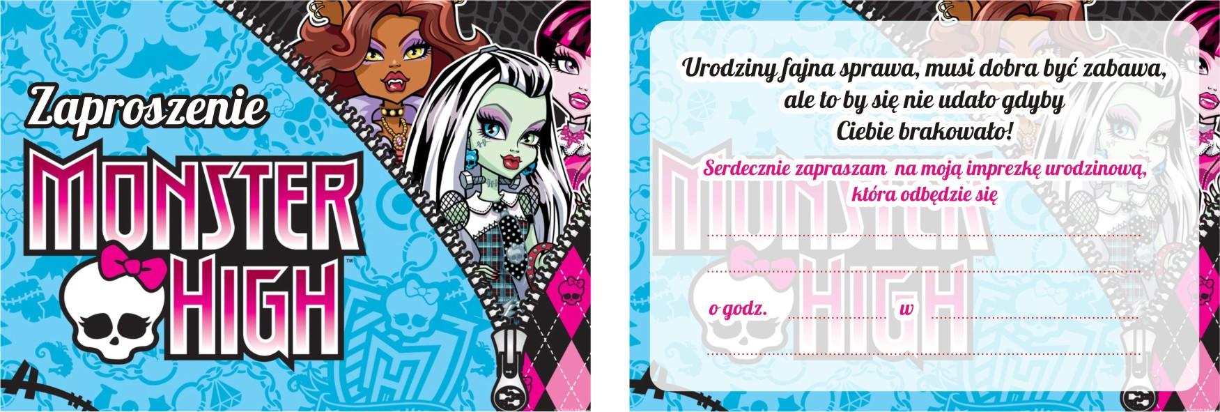 Zaproszenia Urodzinowe Dla Dzieci Monster High 7531691665 Allegropl