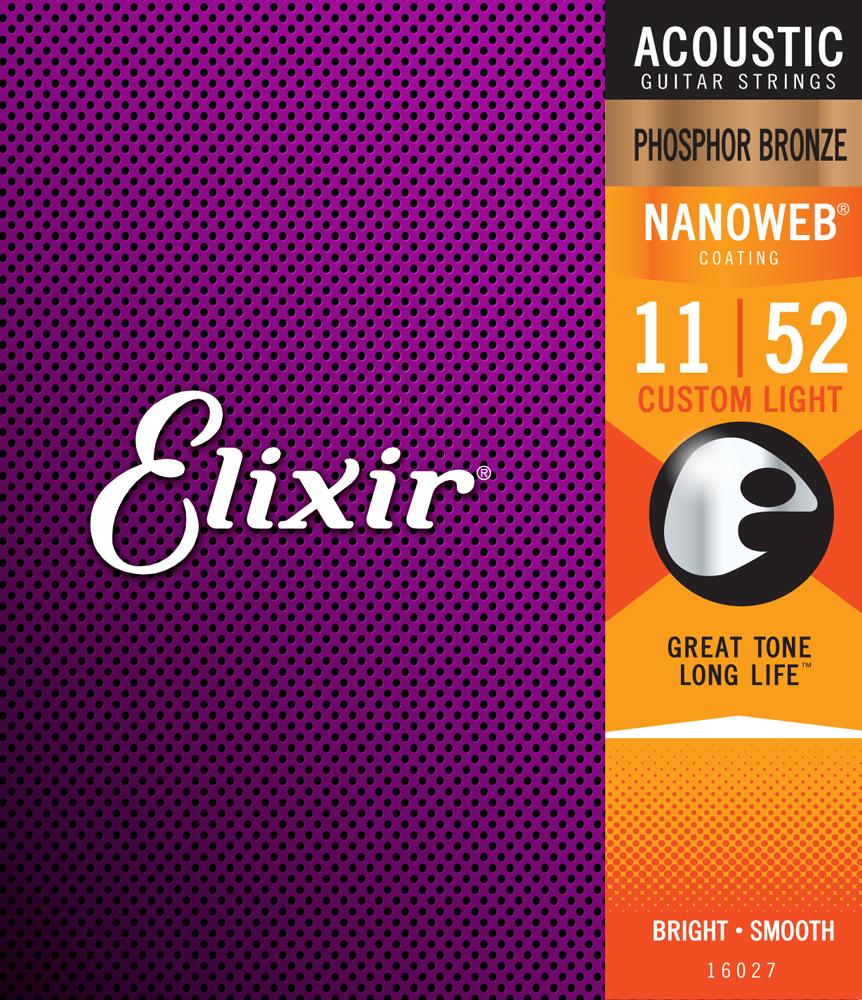 ELIXIR 16027 NANOWEB FOSHOSHOR BRONZE 11-52 STRINGS