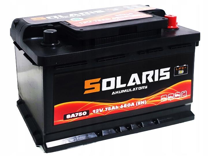 аккумулятор solaris 75ah 680a sa 72 750