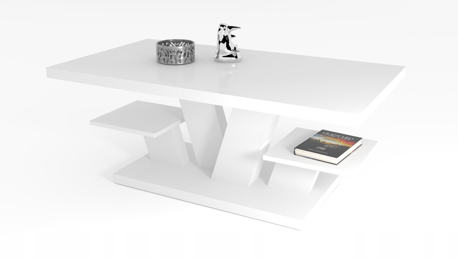 Журнальный столик ВИВА, белый, современная скамейка для гостиной