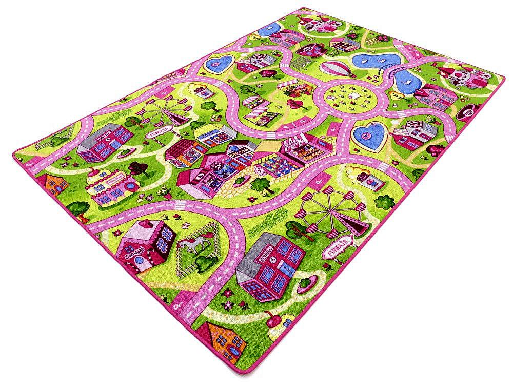 KOBEREC pad zábavné farebné uliciach 150x300 1. 5x3