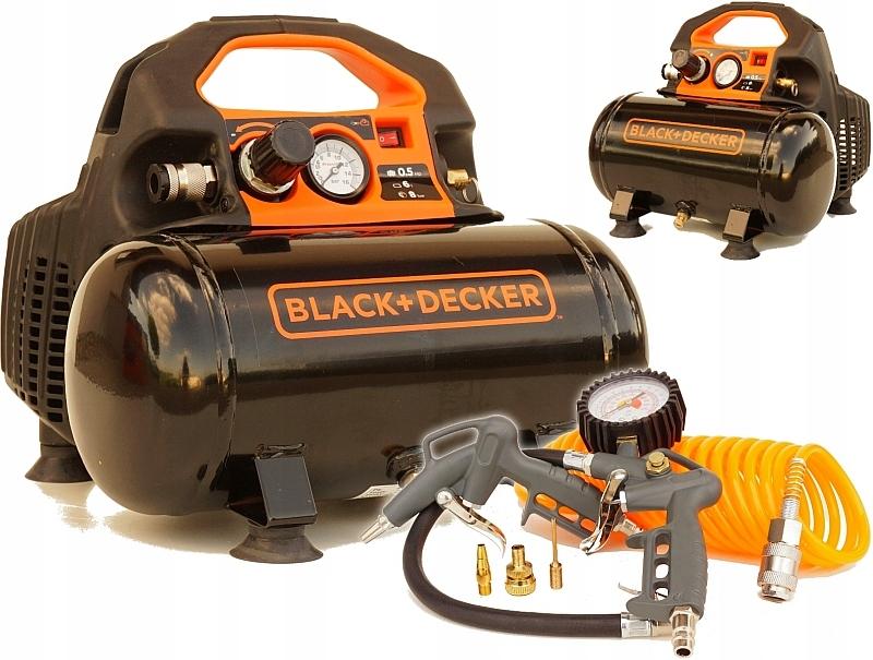 BLACK DECKER KOMPRESOR SPRĘŻARKA 6L + ZESTAW 6el.