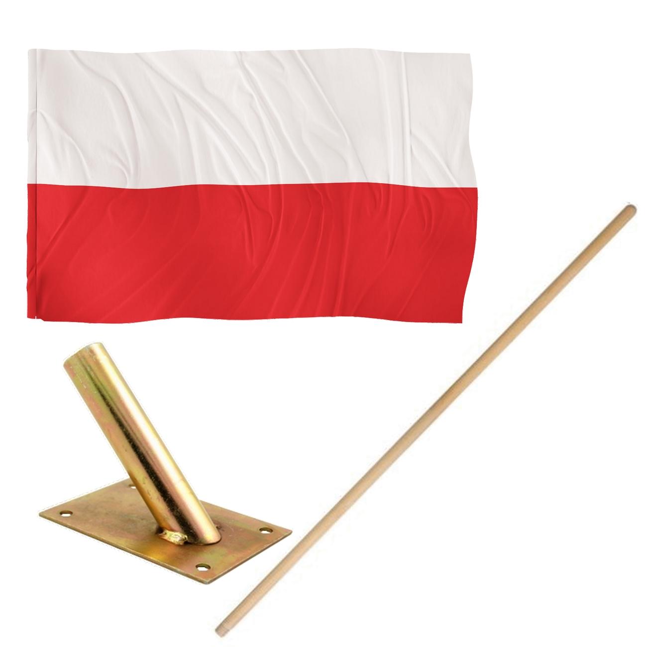 Komplet narodowy - flaga Polska + kij + uchwyt
