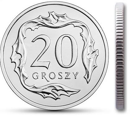 Чеканка 20 грошей 2002 г. с мешком