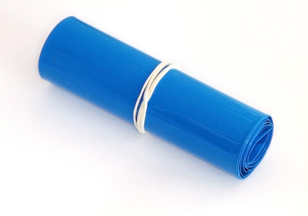 Трубка термоусадочная пленка 70мм синяя 5x18650 1м