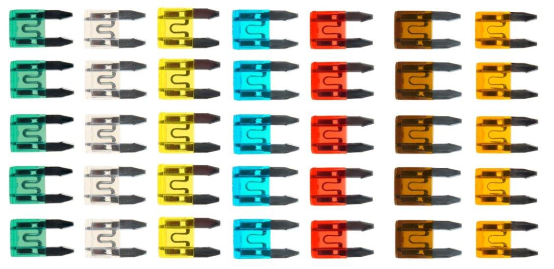 предохранители пластинчатые комплект мини 35 штук 5a-30a