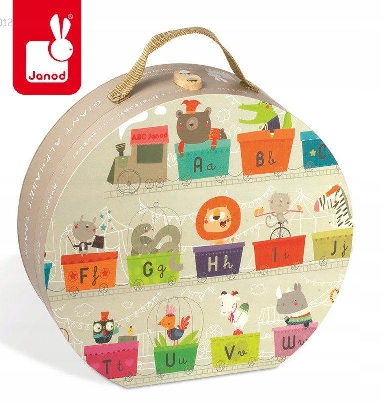 Puzzle w walizce Alfabet pociąg 27 elementów, Jano