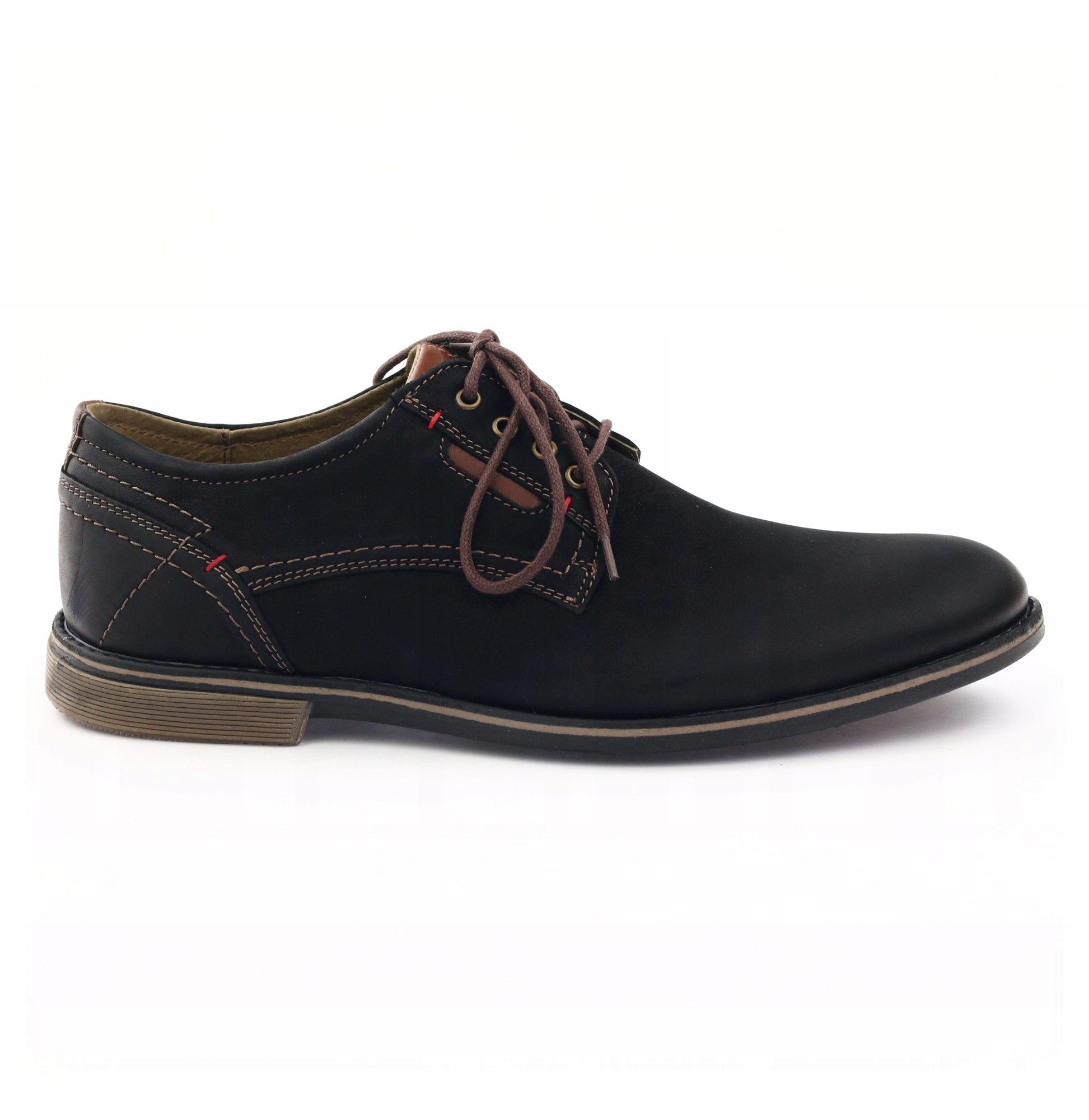 Buty półbuty męskie czarne wizytowe sznurowane lakierki