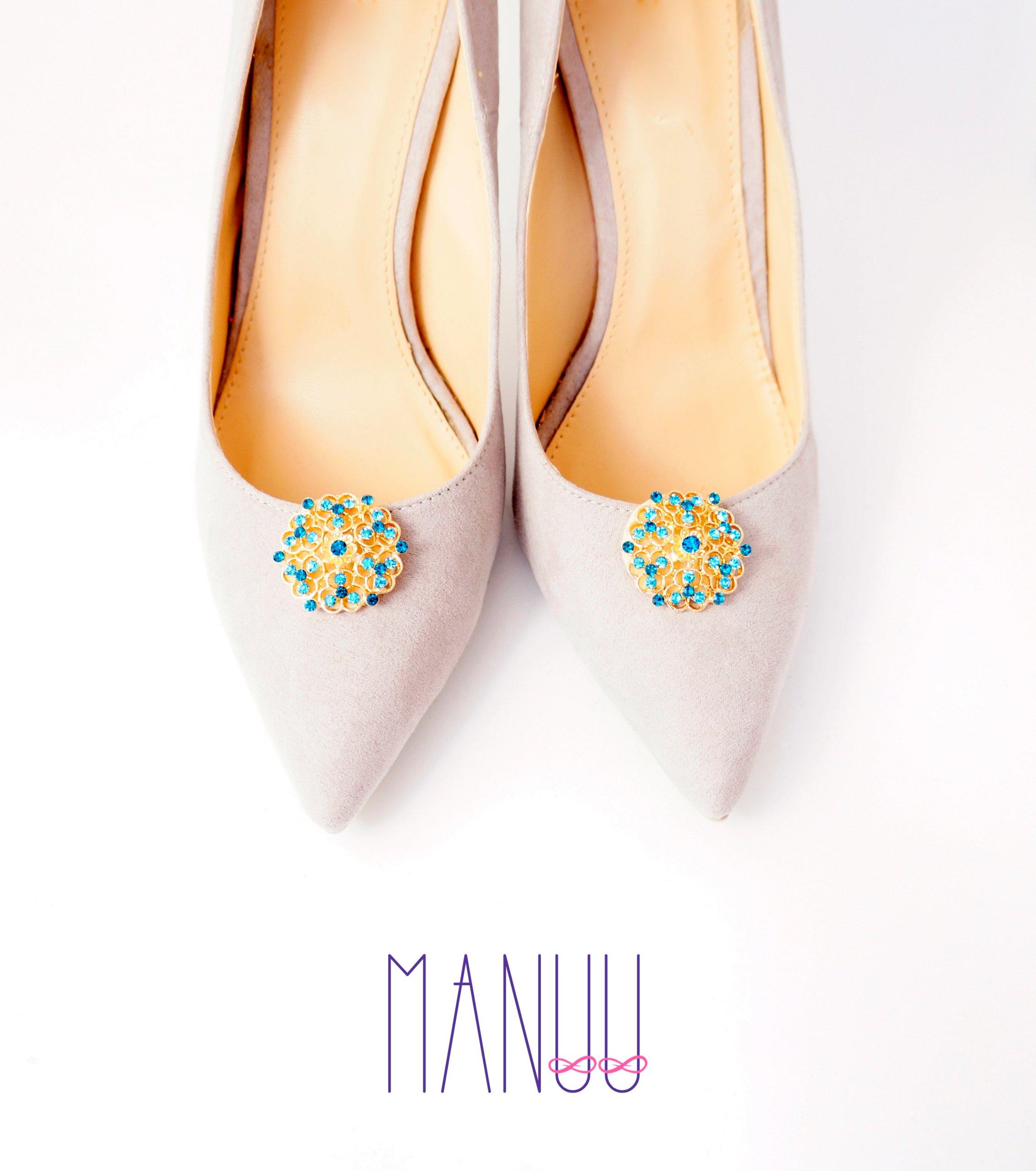 e9ee3800e Klipsy do butów Manuu - Złote ozdoby z cyrkoniami - 7071749748 ...