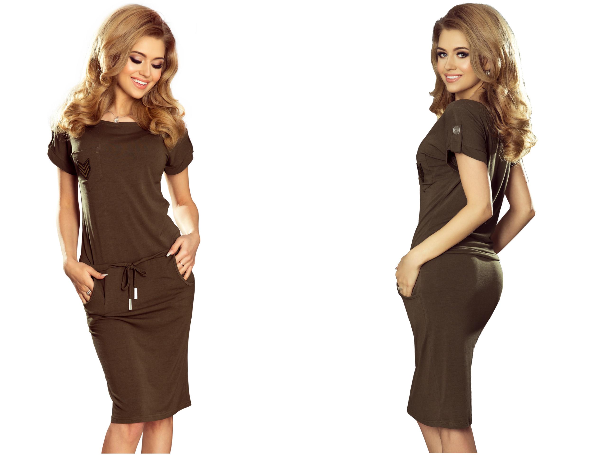 fc26502abf PIĘKNE MODNE Sukienki ZIELONE Z KIESZONKĄ 196-2 XL - 7336229786 - oficjalne  archiwum allegro