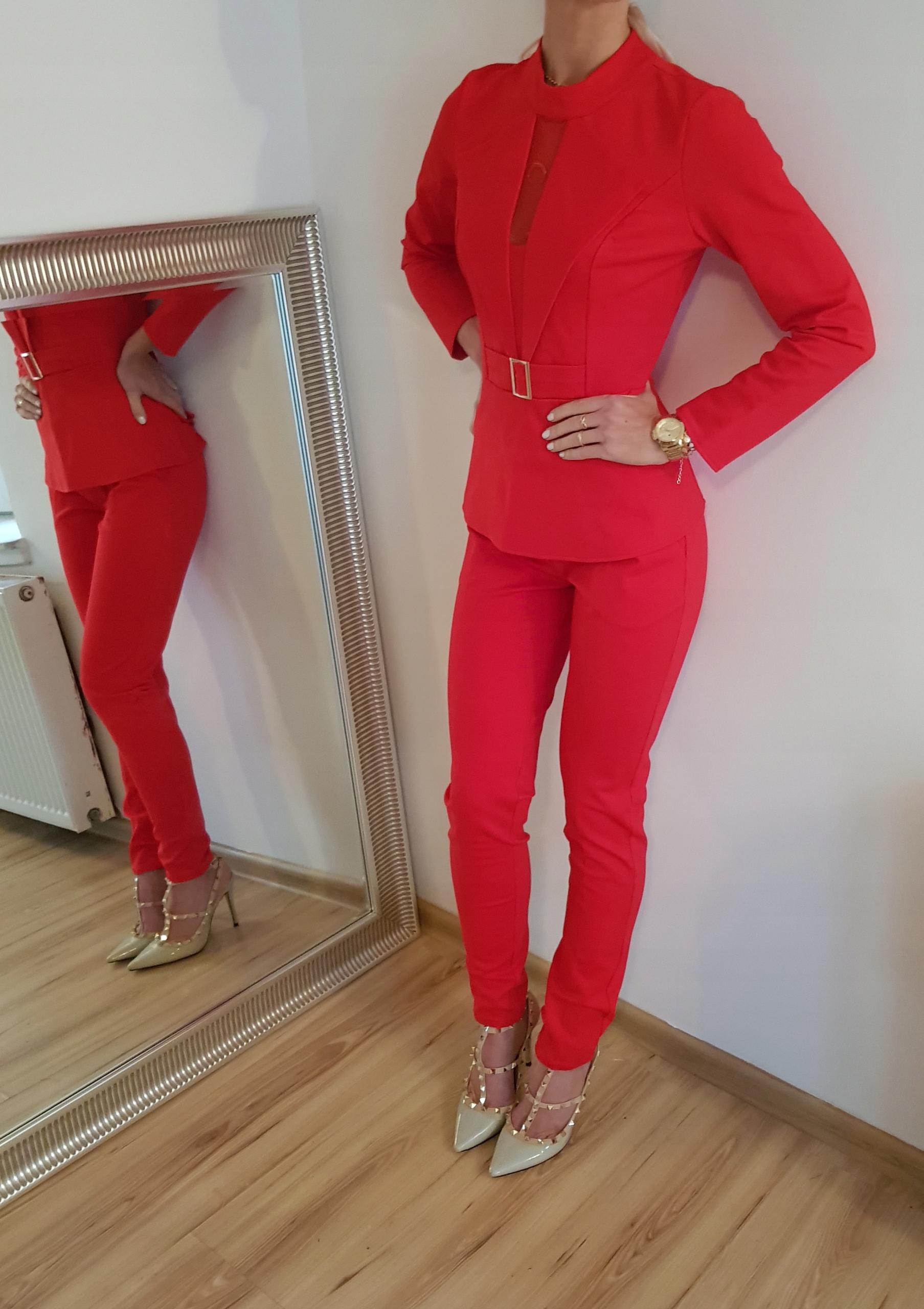 c97f1437b4 Czerwony kostium dwuczęściowy Garnitur damski. 3 - 7692633304 ...