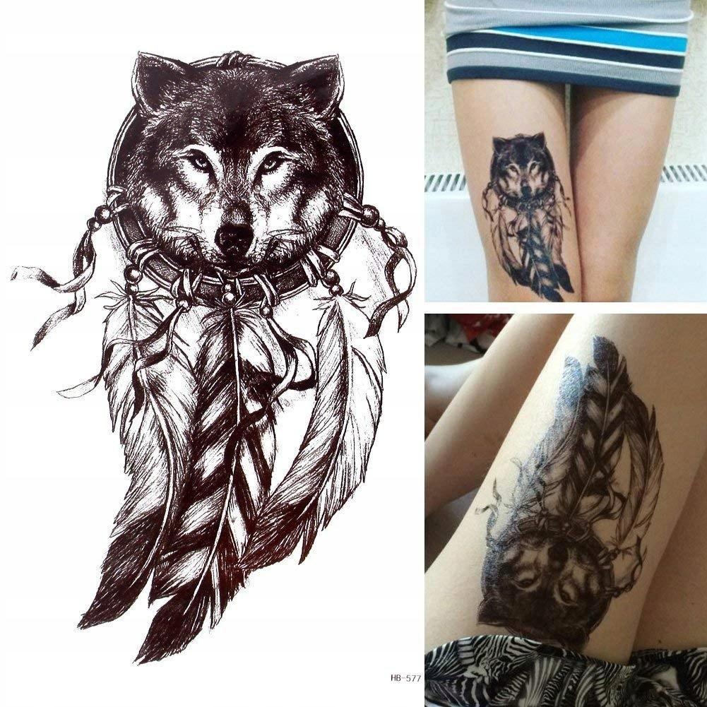 Tatuaż Tymczasowy Ręka Noga Wilk łapacz Snów Pióra