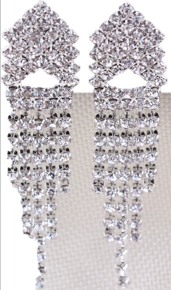 Eleganckie ślubne klipsy długie srebrne c14