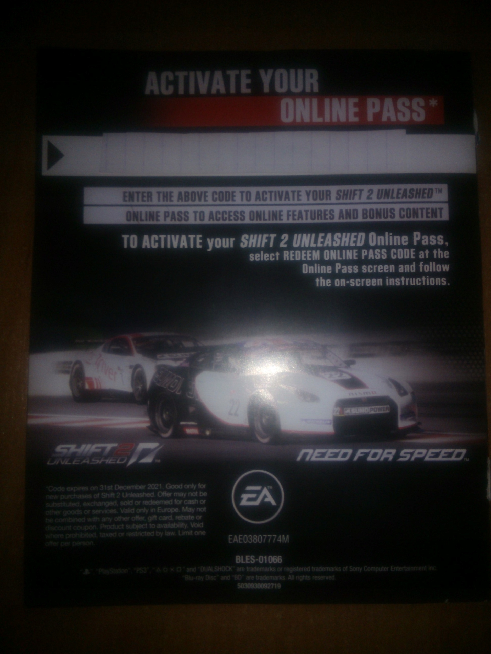 need for speed shift 2 activation code