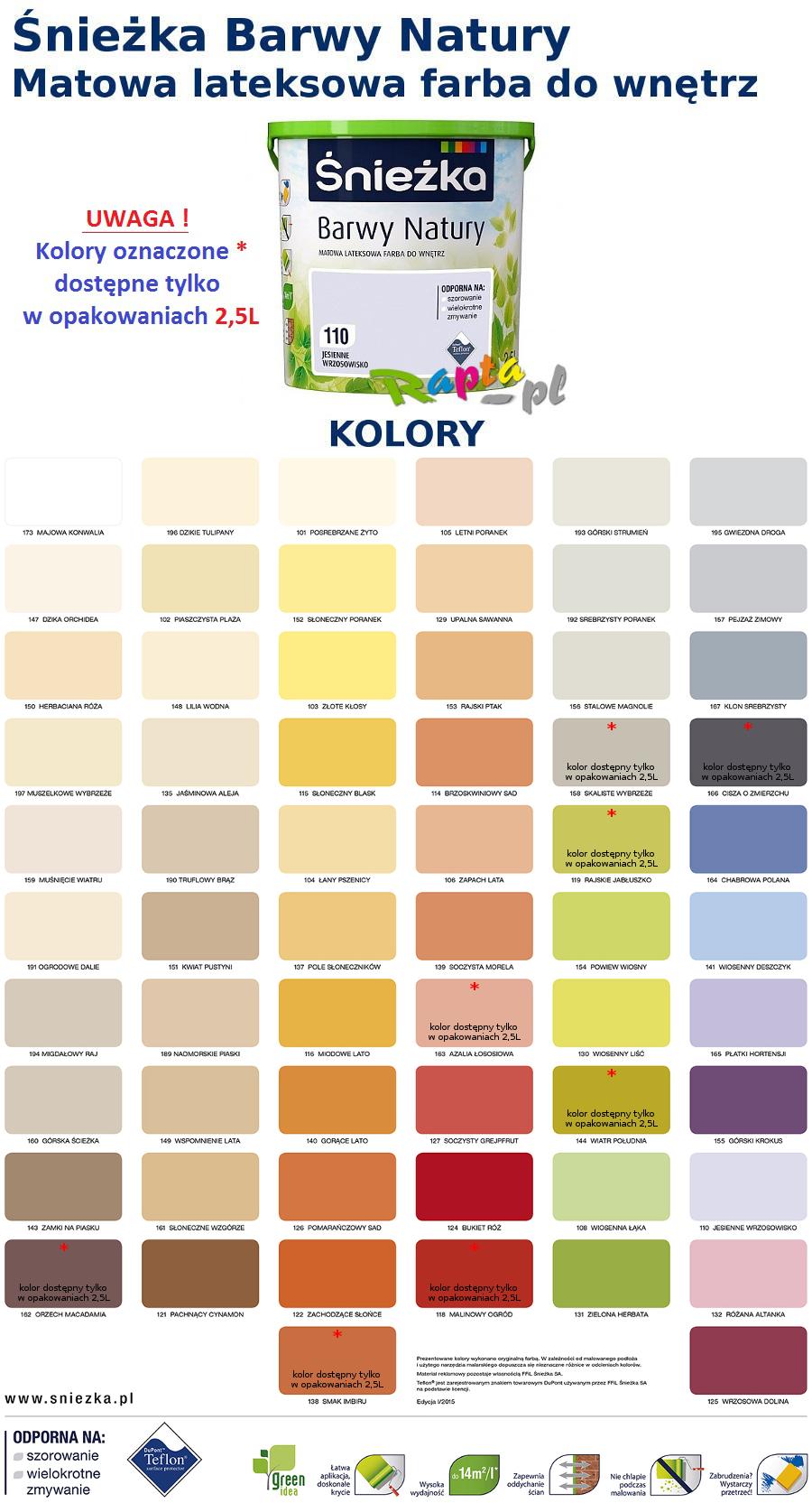 śnieżka Barwy Natury 25l Farba Lateksowa Kolory F 7048684951