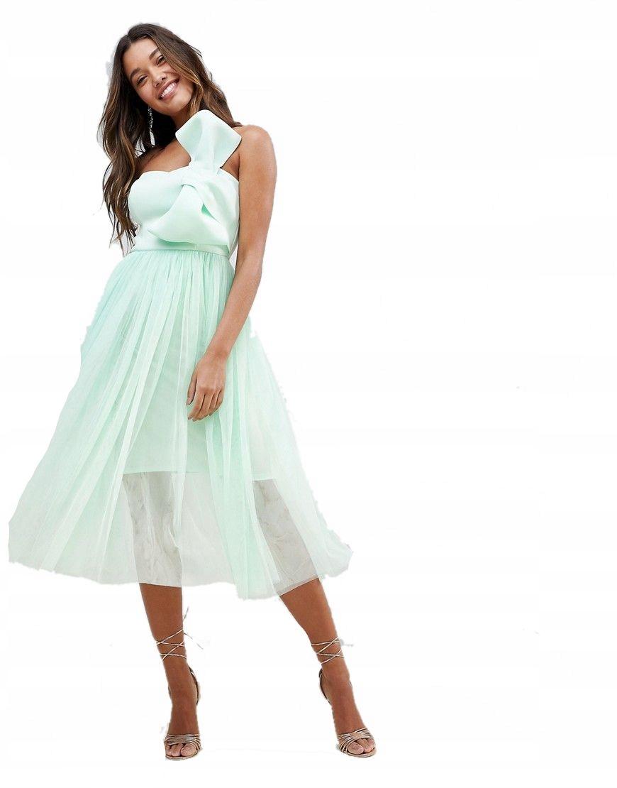 fef378e181 sukienka MIDI miętowa TIULOWA kokarda XXS 32 - 7387575313 ...