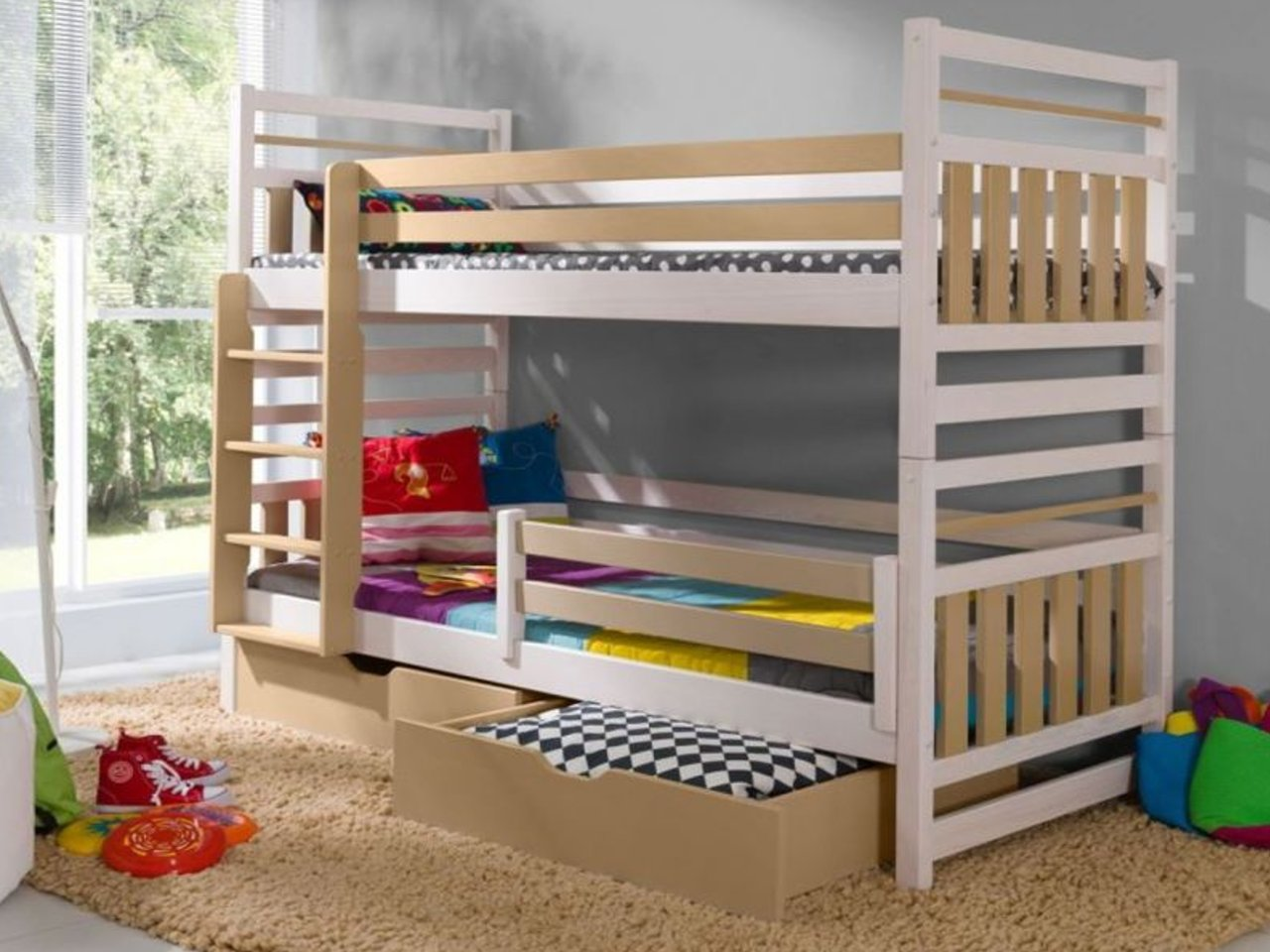 łóżko Piętrowe Drewniane Z Drabinką Miromir Hit 7256103562