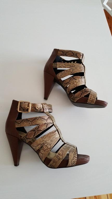 0bfb87e61367a Sandały botki H&M roz. 38 wężowa skóra złoto - 7416589413 ...