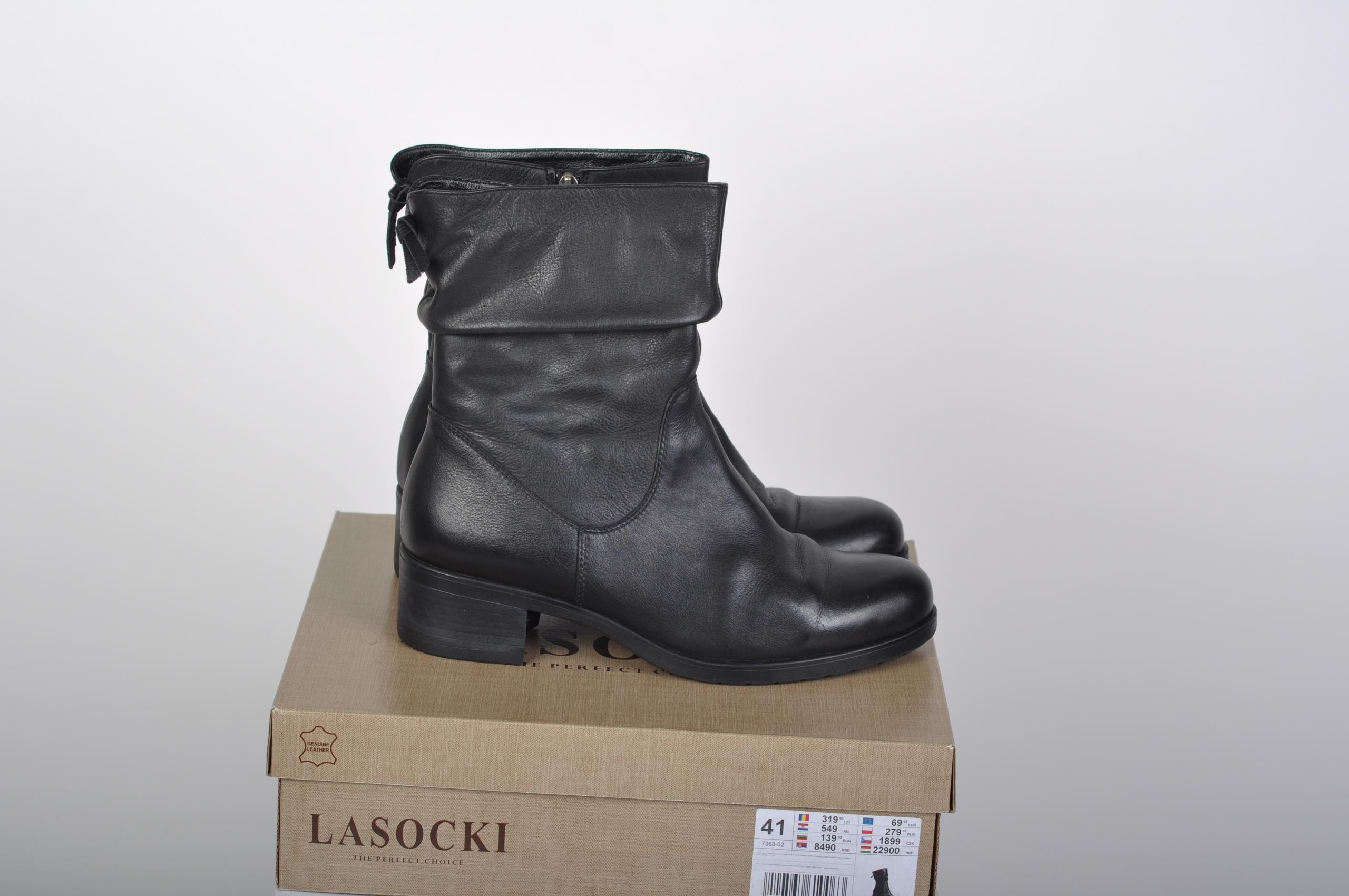 e7af6bb32fcdb LASOCKI czarne botki skóra roz. 41 wkładka 27 cm - 7692476758 ...