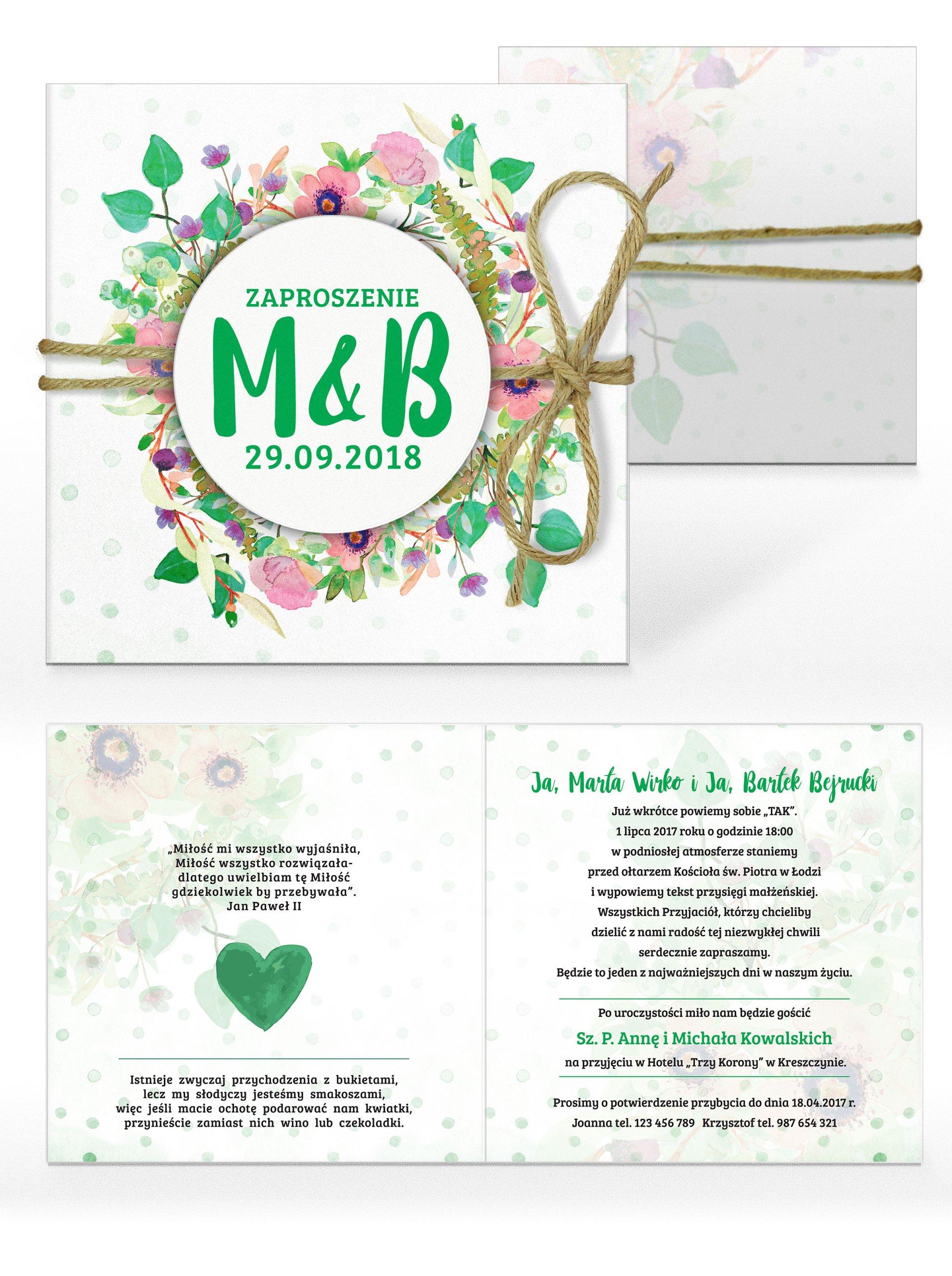 Zaproszenia ślubne Wianki Kwiaty Akwarele 1 7161399923