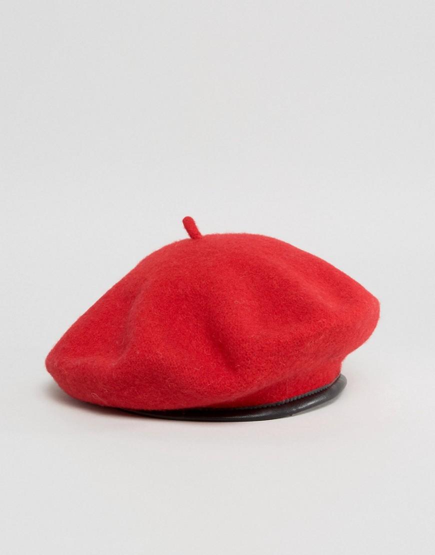 Wełniany czerwony klasyczny beret ASOS / wełna