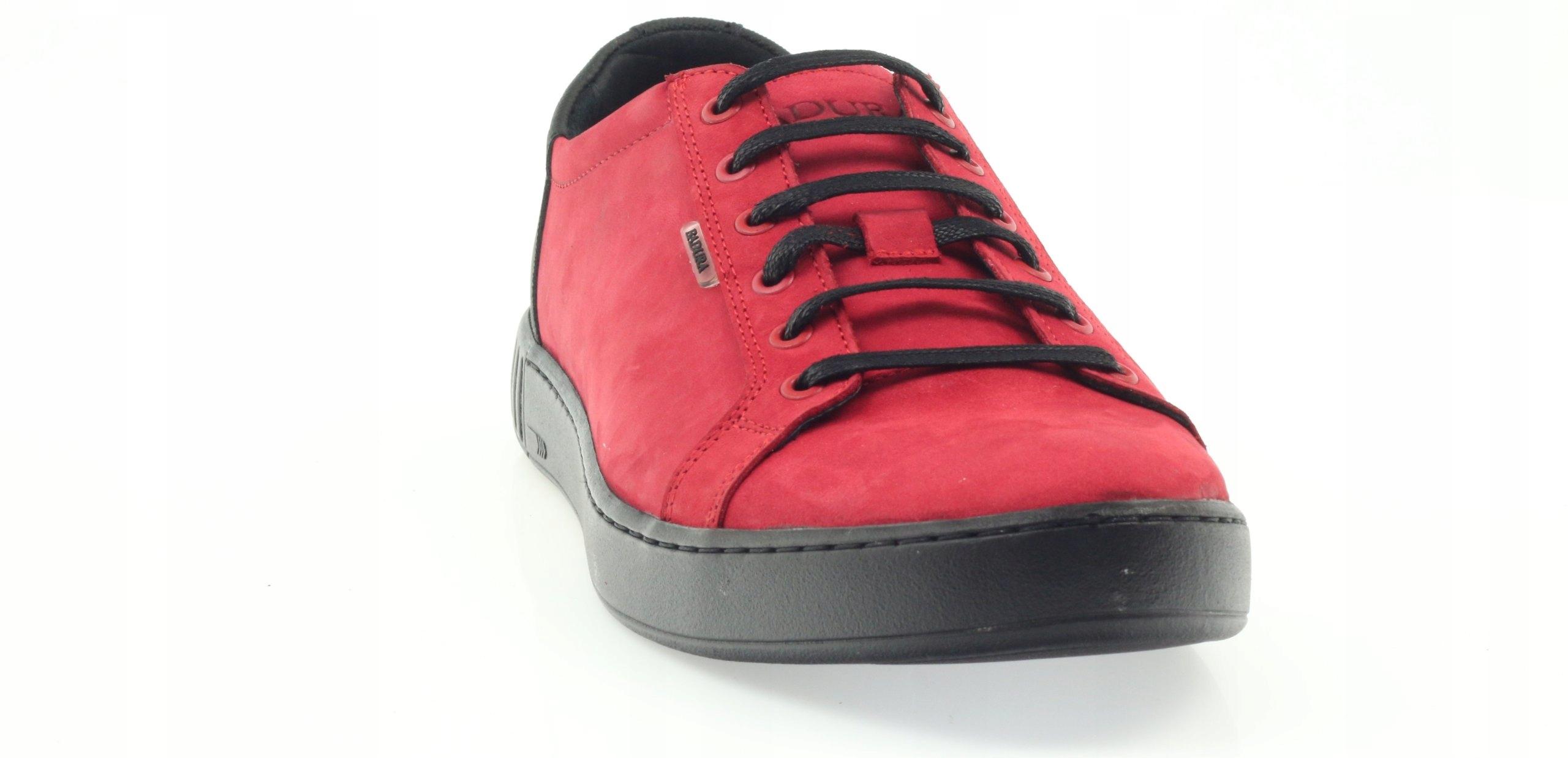 Czarne Czerwone Nubukowe Buty Męskie Badura rozmiar 45